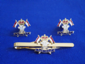 9th / 12th ROYAL LANCERS ( PRINCE OF WALES'S ) CUFF LINKS AND TIE GRIP / CLIP SET